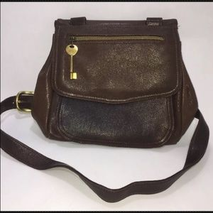 Fossil Unique Soft Brown Leather Bag w/ Wood Dowel